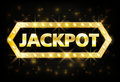 Jackpot gold casino lotto label with glowing lamps on black background. Casino jackpot winner design gamble with shining