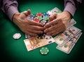 Jackpot man takes casino close up Royalty Free Stock Image