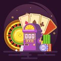 Jackpot slot machine, Royal casino, club, chips, roulette, cards Vector colorful illustration in flat style image Royalty Free Stock Photo
