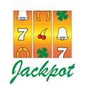 Jackpot slots casino gamble machine vector illustration Royalty Free Stock Photography