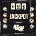 Jackpot vintage background of a casino poster Stock Photography