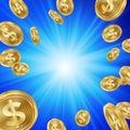 Jackpot Winner Background Vector. Falling Explosion Gold Coins Illustration. Jackpot Prize Design. Coins Background.