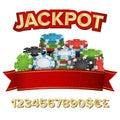 Jackpot Winner Background Vector. Gambling Poker Chips Illustration. For Online Casino, Card Games, Poker, Roulette Royalty Free Stock Photo