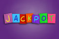 Jackpot the word written on sticky colored paper Stock Image