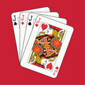 Jacks poker on red Royalty Free Stock Photo