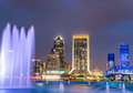 Jacksonville, Florida. City lights at night with river reflectio Royalty Free Stock Photo