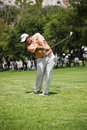 Jaco ahlers clubbing the ball up the fairway heading to the green on the th day of the tournament sun city gary player golf course Stock Images