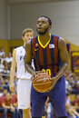 Jacob pullen of fcb in action at the friendly match between fc barcelona and joventut final score on september in sant julia de Stock Images