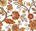 Jacobean flowers Seamless Pattern Print Royalty Free Stock Photo