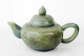 Jade teapot with white background from east Stock Images