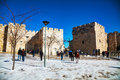 Jaffa gate in jerusalem after a snow storm december on december it s stone portal the historic walls of the old city and one of Royalty Free Stock Image