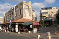 Jaffa road with restaurant and old buildings in urban area israel Royalty Free Stock Photography