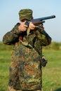 Jager met geweerkanon Royalty-vrije Stock Foto