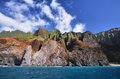 Jagged hills from catamaran at the dramatic na pali coast of kauai hawaii islands Royalty Free Stock Photography
