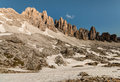 Jagged peaks in eastern dolomites italy Royalty Free Stock Photo