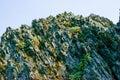Jagged rock outcro basalt outcrop layers Stock Image