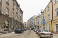 Jagiellonska winter street in Rzeszow, Poland.