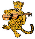 Jaguar playing the guitar Royalty Free Stock Photography