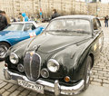 Jaguar on rally of classical cars moscow april poklonnaya hill april in town russia Royalty Free Stock Photo