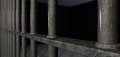 Jail cell bars extreme closeup a view of a prison holding with welds Royalty Free Stock Photo
