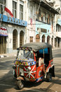 Jakarta september tuk tuk motorized rickshaw cheap form of public transport parked outside old colonial era buildings on september Royalty Free Stock Images