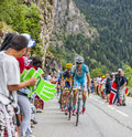Jakob fuglsang climbing alpe d huez france july the danish cyclist from astana team the difficult road to during the Stock Images