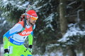 Jakov fak biathlon from slovenia in men km pursuit race within world cup held on nove mesto na morave on Stock Photo