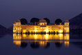Jal mahal palace on lake at night in jaipur india Stock Photography