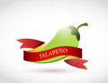 Jalapeño and banner sign illustration design over a white background Royalty Free Stock Images