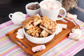 Jam filled bar cookies and cup of hot cocoa homemade with marshmallow Stock Photography