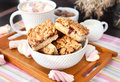 Jam filled bar cookies and cup of hot cocoa homemade with marshmallow Stock Photos