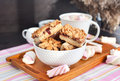 Jam filled bar cookies and cup of hot cocoa homemade with marshmallow Royalty Free Stock Photography