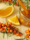 Jam with fruits of sea buckthorn and oranges Stock Images