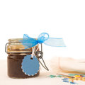 Jam jar with blank label for text Royalty Free Stock Photo