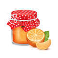 Jam jar with orange and slice on white Royalty Free Stock Images