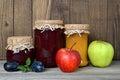 Jam jars and fresh fruits Royalty Free Stock Photo