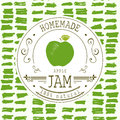 Jam label design template. for apple dessert product with hand drawn sketched fruit and background. Doodle vector apple illustrati Royalty Free Stock Photo