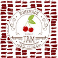 Jam label design template. for cherry dessert product with hand drawn sketched fruit and background. Doodle vector cherry illustra Royalty Free Stock Photo