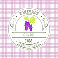 Jam label design template. for grape dessert product with hand drawn sketched fruit and background. Doodle vector Grape illustrati Royalty Free Stock Photo