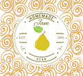 Jam label design template. for pear dessert product with hand drawn sketched fruit and background. Doodle vector pear illustration Royalty Free Stock Photo