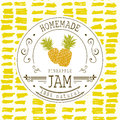Jam label design template. for pineapple dessert product with hand drawn sketched fruit and background. Doodle vector pineapple il Royalty Free Stock Photo