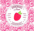 Jam label design template. for raspberry dessert product with hand drawn sketched fruit and background. Doodle vector raspberry il Royalty Free Stock Photo
