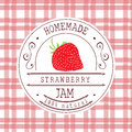 Jam label design template. for strawberry dessert product Royalty Free Stock Photo