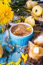 Jam from pears in a bowl on a wooden table Royalty Free Stock Photo
