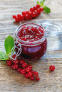 Jam of red currants in a jar. Royalty Free Stock Photo