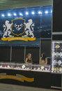 Jam star diamond jewelry house booth ukrainian with presenters during spring jeweller expo exhibition at kyivexpoplaza exhibition Royalty Free Stock Photo