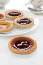 Jam tarts and afternoon tea Royalty Free Stock Photo