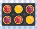 Jam tarts an illustration of a tray of freshly baked strawberry plum and lemon on a blue gingham cloth Royalty Free Stock Images