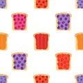 Jam on toasts, toast with jelly seamless pattern. Flat style