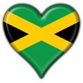Jamaica button flag heart shape Royalty Free Stock Image